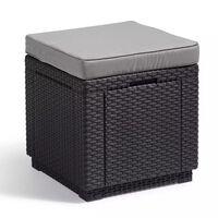 Allibert kubeformet opbevaringspuf grafitgrå 213785