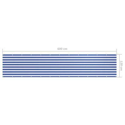 vidaXL altanafskærmning 120x600 cm oxfordstof hvid og blå