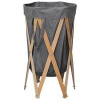 vidaXL foldbar vasketøjskurv træ og stof grå