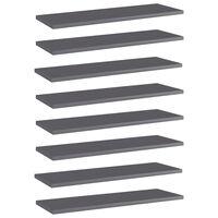 vidaXL boghylder 8 stk. 60x20x1,5 cm spånplade grå højglans