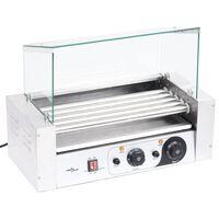 vidaXL pølsegrill 5 ruller med glasskærm 1000 W
