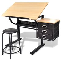 vidaXL tegnebord med skammel og tre skuffer vipbar bordplade