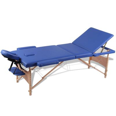 Blå sammefoldeligt massagebord, 3 zoner med træramme