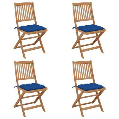 vidaXL foldbare havestole 4 stk. med hynder massivt akacietræ