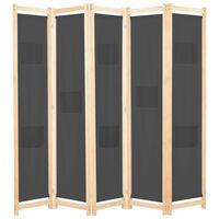vidaXL 5-panelers rumdeler 200 x 170 x 4 cm stof grå