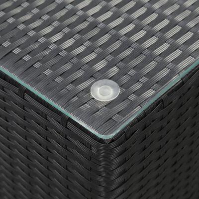 vidaXL sideborde med glastop 3 stk. polyrattan sort