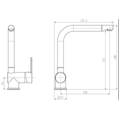 SCHÜTTE blandingsbatteri til håndvask RIO sølvfarvet