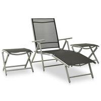 vidaXL loungesæt til haven 3 dele textilene og aluminium sølvfarvet