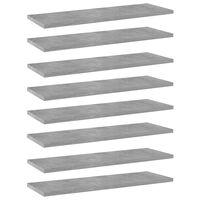 vidaXL boghylder 8 stk. 60x20x1,5 cm spånplade betongrå