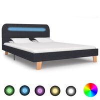 vidaXL sengestel med LED 140 x 200 cm mørkegrå stof