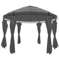 vidaXL pavillon med gardiner rund 3,5 x 2,7 cm antracitgrå