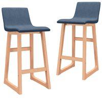 vidaXL barstole 2 stk. stof blå