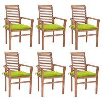 vidaXL spisebordsstole 6 stk. med lysegrønne hynder massivt teaktræ