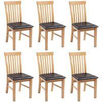 vidaXL spisebordsstole 6 stk. massivt egetræ og kunstlæder