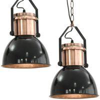 vidaXL loftslampe 2 stk. rund E27 sort