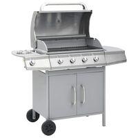 vidaXL gasgrill 4+1 grillzoner rustfrit stål sølvfarvet