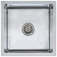 vidaXL håndlavet køkkenvask med strainer rustfrit stål
