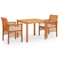 vidaXL udendørs spisebordssæt 3 dele med hynder massivt akacietræ