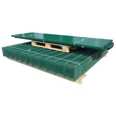 vidaXL 2D paneler og pæle til havehegn, 2.008x1.830 mm, 8 m, grønne