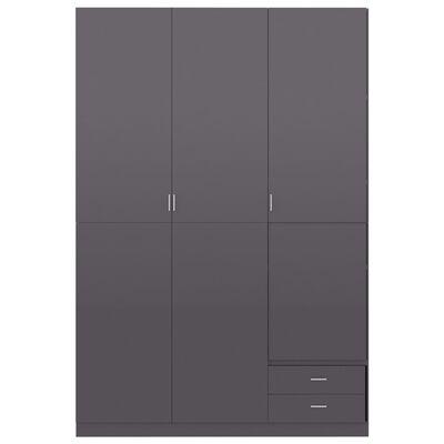 vidaXL klædeskab med 3 låger 120 x 50 x 180 cm spånplade grå højglans