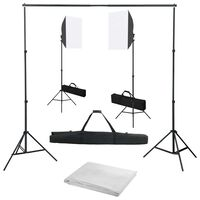 vidaXL fotostudieudstyr med softbox-lamper og baggrund