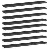 vidaXL boghylder 8 stk. 60x10x1,5 cm spånplade sort højglans