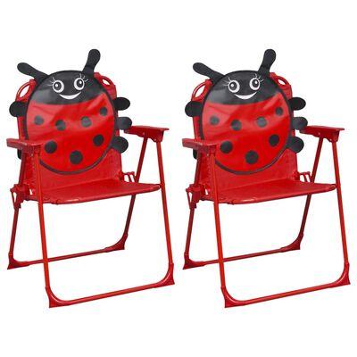 vidaXL børnestole til haven 2 stk. stof rød