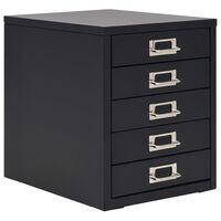 vidaXL arkivskab med 5 skuffer metal 28 x 35 x 35 cm sort