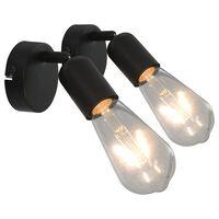 vidaXL spotlamper 2 stk. med glødepærer 2 W E27 sort