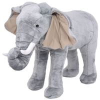 vidaXL stående legetøjselefant plys grå XXL