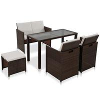 vidaXL udendørs spisebordssæt 6 dele med hynde polyrattan brun