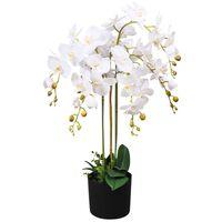 vidaXL kunstig orkidéplante med urtepotte 75 cm hvid
