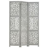 vidaXL 3-panels rumdeler håndskåret 120 x 165 cm massivt mangotræ grå