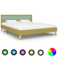 vidaXL sengestel med LED 140 x 200 cm stof grøn