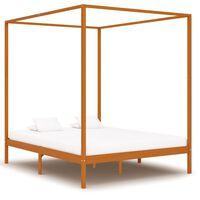 vidaXL sengestel til himmelseng 160x200 cm massivt fyrretræ gyldenbrun