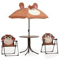 vidaXL udendørs bistrosæt til børn 3 dele med parasol brun