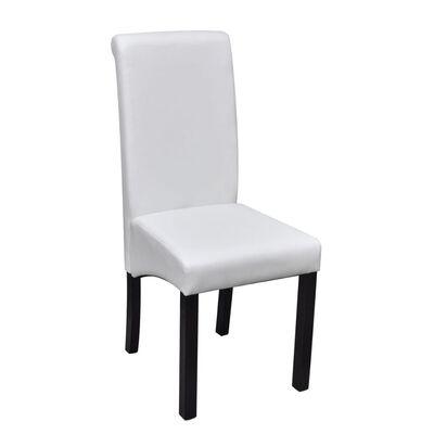 vidaXL spisebordsstole 2 stk. kunstlæder hvid
