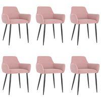 vidaXL spisebordsstole 6 stk. fløjl pink