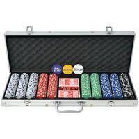 vidaXL pokersæt med 500 jetoner aluminium