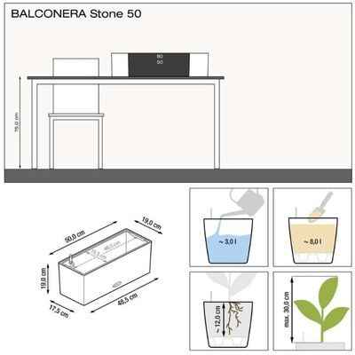 LECHUZA plantekrukke BALCONERA Color 50 ALL-IN-ONE grå